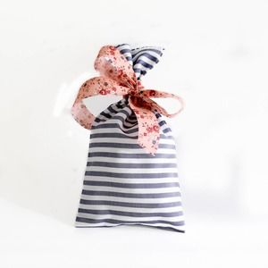 Striped Blue and Handmade Floral Party Favors